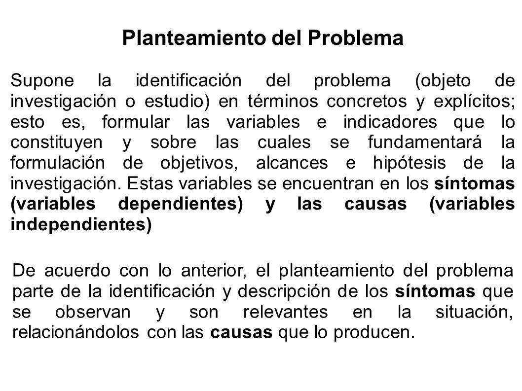 Planteamiento del Problema Supone la identificación del problema (objeto de investigación o estudio) en términos concretos y explícitos; esto es, form