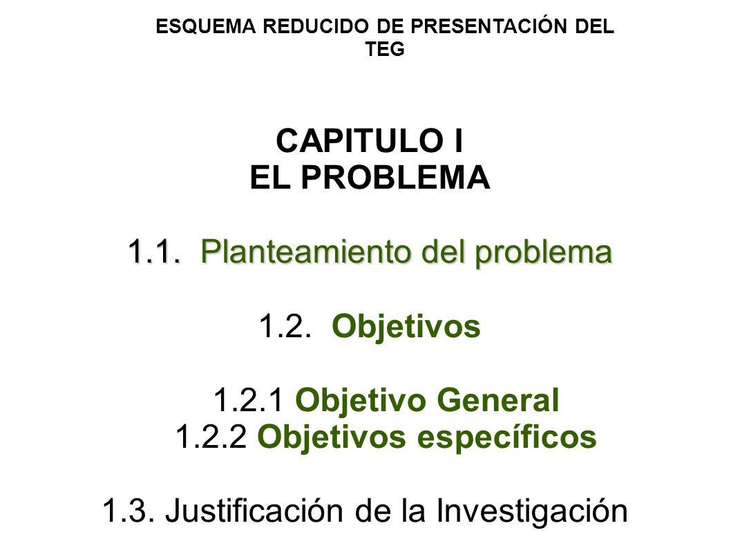 CAPITULO I EL PROBLEMA 1.1. Planteamiento del problema 1.2. Objetivos 1.2.1 Objetivo General 1.2.2 Objetivos específicos 1.3. Justificación de la Inve
