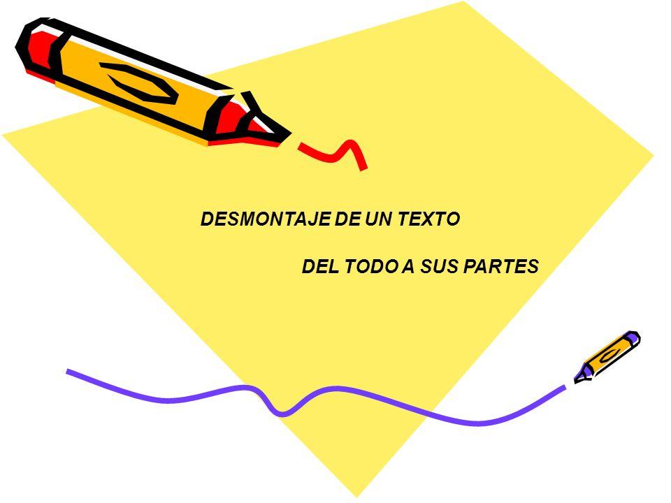 DESMONTAJE DE UN TEXTO DEL TODO A SUS PARTES