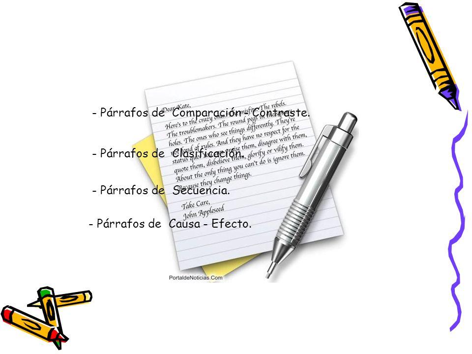- Párrafos de Secuencia. - Párrafos de Causa - Efecto. - Párrafos de Comparación - Contraste. - Párrafos de Clasificación.