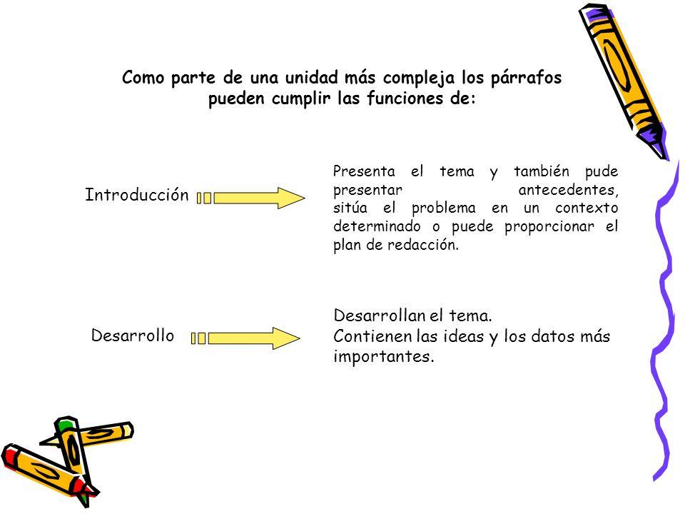 Como parte de una unidad más compleja los párrafos pueden cumplir las funciones de: Introducción Presenta el tema y también pude presentar antecedente
