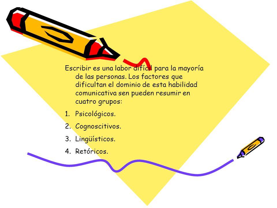 Escribir es una labor difícil para la mayoría de las personas. Los factores que dificultan el dominio de esta habilidad comunicativa sen pueden resumi