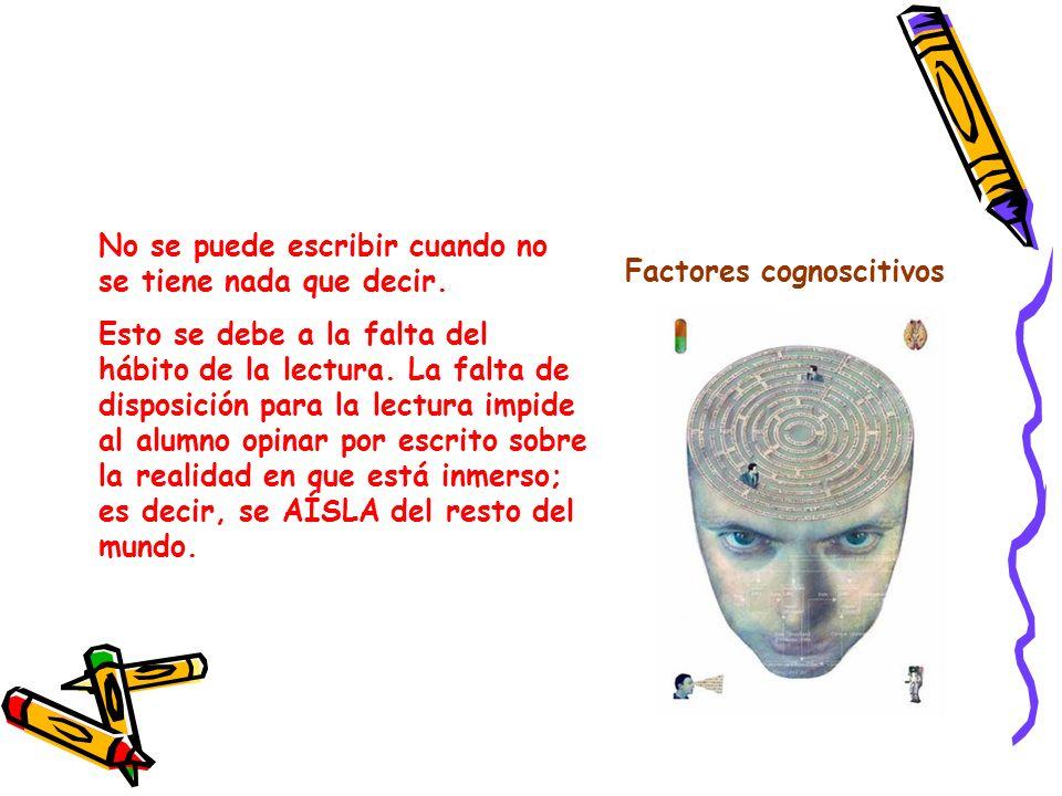 Factores lingüísticosPara muchas personas es bastante difícil comunicar las ideas por escrito.