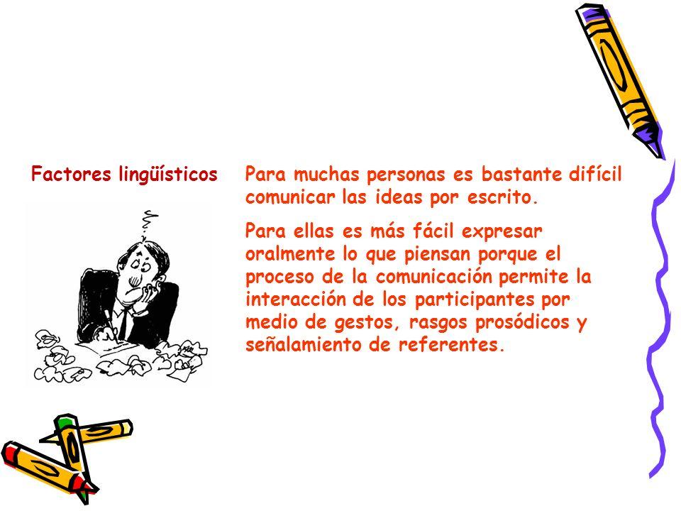 Factores lingüísticosPara muchas personas es bastante difícil comunicar las ideas por escrito. Para ellas es más fácil expresar oralmente lo que piens