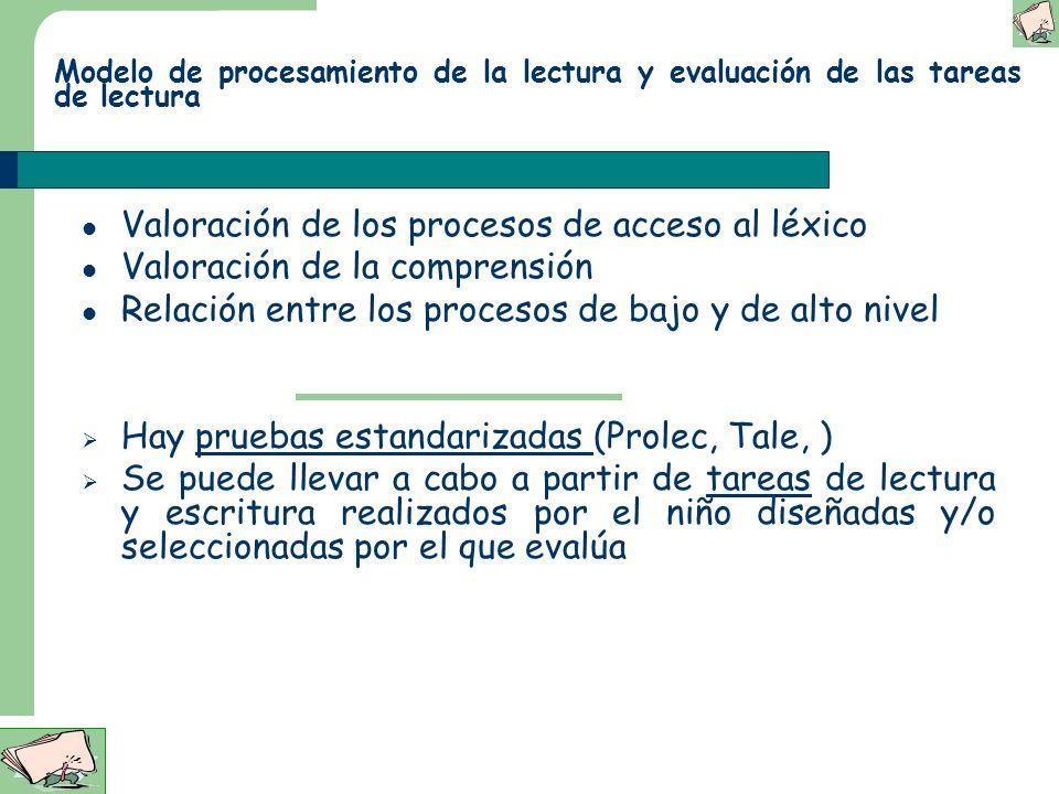 Evaluación de las D.A. de la lectura: Aspectos Generales Debe de ser funcional (supone elaborar el modelo de procesamiento que el niño lleva a cabo) P
