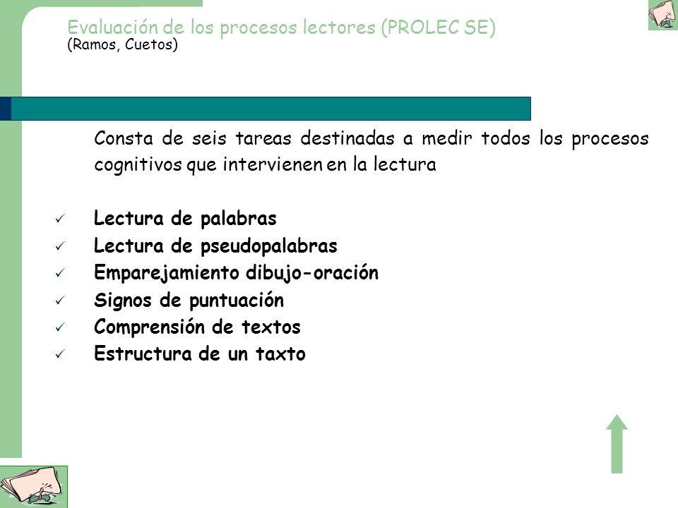 Evaluación de los procesos lectores (PROLEC) (Cuetos Rodríguez Ruano) Consta de 10 tareas destinadas a medir todos los procesos cognitivos que intervi