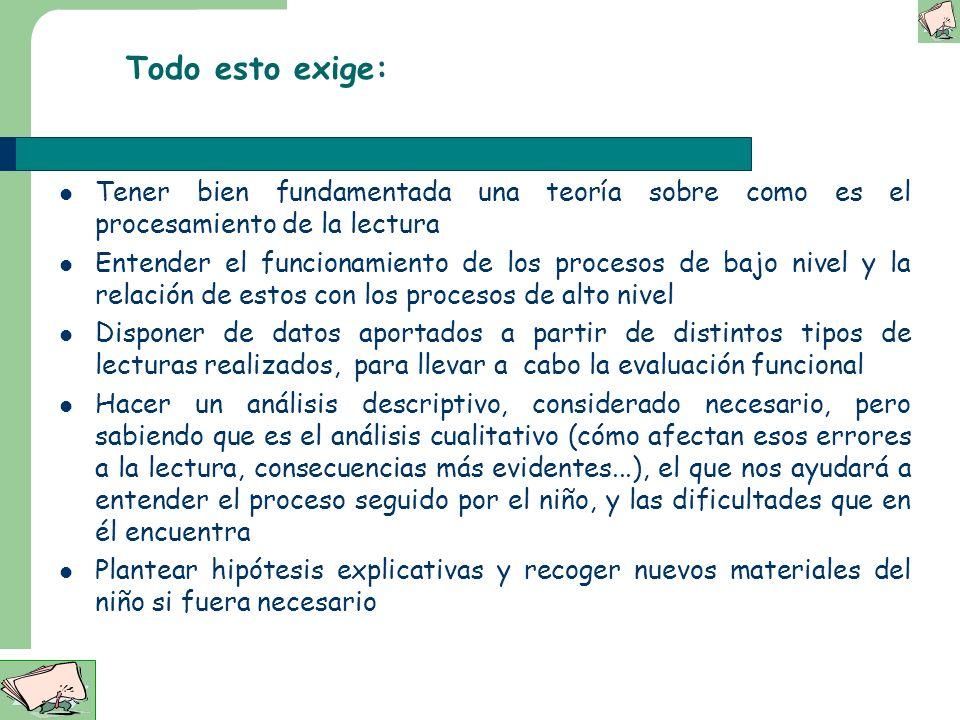 Evaluación funcional Datos relevantes a considerar, cómo interpretarlos Evaluación como proceso de investigación Modelo teórico explícito Competencias