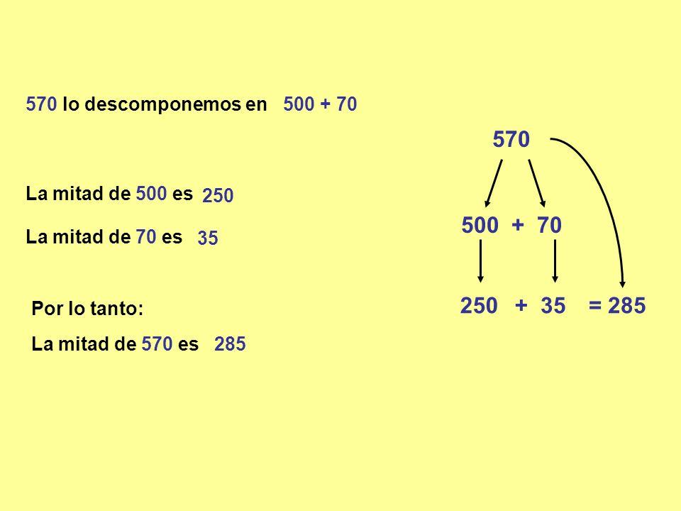 570 570 lo descomponemos en 500 + 70 La mitad de 70 es Por lo tanto: La mitad de 570 es 285 250 + 500 + 70 35 = 285 La mitad de 500 es 250 35