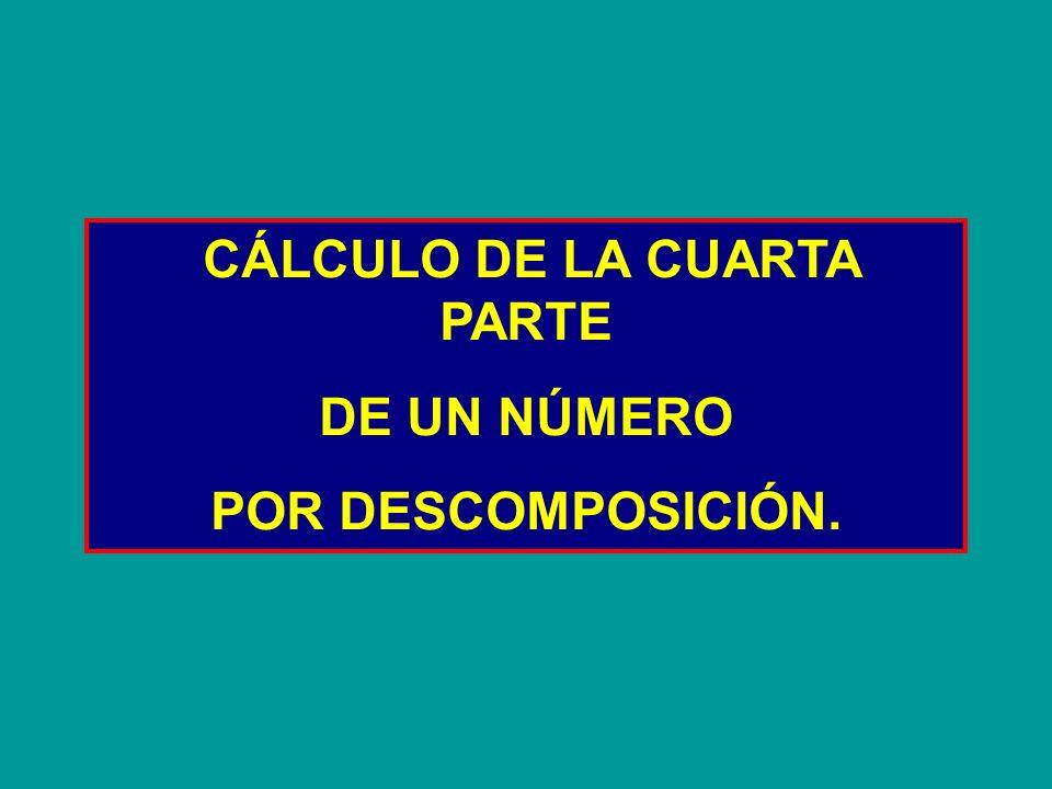 La cuarta parte de 3.720 3.720 3.720 lo descomponemos en 3.600120 + La cuarta parte de 3.600 es 900 La cuarta parte de 120 es 30 + = 930 La cuarta parte de 3.720 esPor lo tanto:930 3.720 : 4= (3.600 + 120) : 4= 3.600 : 4 + 120 : 4 = 900 + 30= 930 3.600 + 120 900 30 Expresión matemática