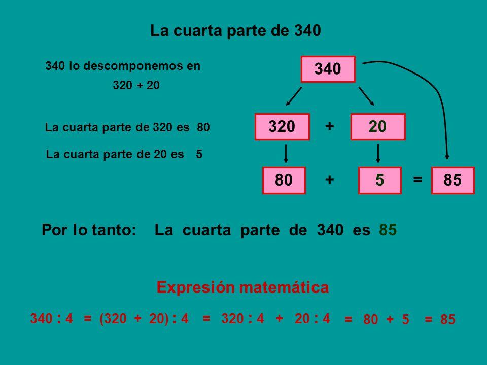 La cuarta parte de 500 500 500 lo descomponemos en 400100 + La cuarta parte de 400 es 100 La cuarta parte de 100 es 25 + = 125 La cuarta parte de 500 esPor lo tanto:125 500 : 4= (400 + 100) : 4= 400 : 4 + 100 : 4 = 100 + 25= 125 400 + 100 100 25 Expresión matemática