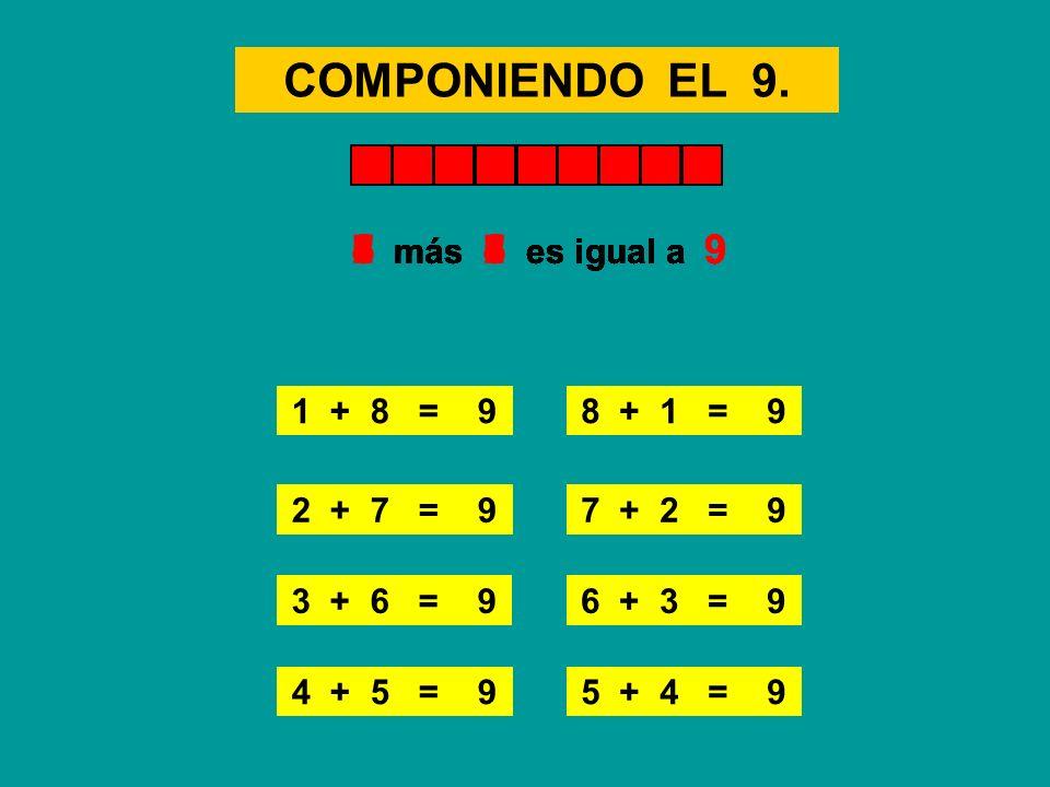 COMPONIENDO EL 9. 4 + 5 = 9 1 + 8 = 98 + 1 = 9 2 + 7 = 97 + 2 = 9 3 + 6 = 96 + 3 = 9 5 más 4 es igual a 91 más 8 es igual a 9 5 + 4 = 9 8 más 1 es igu