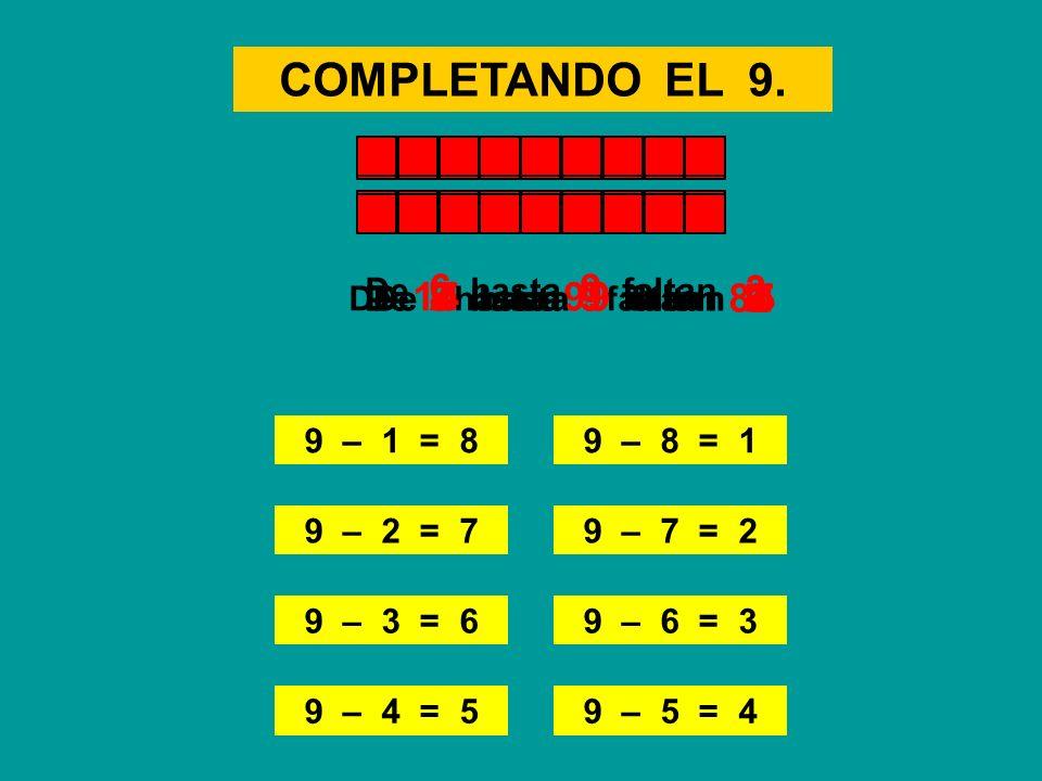 COMPLETANDO EL 9. 9 – 1 = 8 De 5 hasta 9 faltan 9 – 8 = 1 9 – 2 = 79 – 7 = 2 9 – 3 = 69 – 6 = 3 9 – 4 = 59 – 5 = 4 4 De 1 hasta 9 faltan 8 De 8 hasta