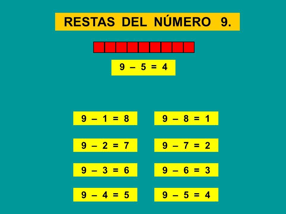 RESTAS DEL NÚMERO 9. 9 – 1 = 8 9 – 3 = 6 9 – 8 = 1 9 – 6 = 3 9 – 2 = 7 9 – 4 = 5 9 – 7 = 2 9 – 5 = 4 9 – 1 = 89 – 8 = 1 9 – 2 = 79 – 7 = 29 – 3 = 69 –