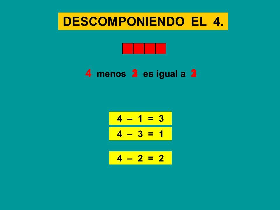 DESCOMPONIENDO EL 4. 4 – 2 = 2 4 menos 2 es igual a 24 menos 1 es igual a 3 4 – 1 = 3 4 menos 3 es igual a 1 4 – 3 = 1