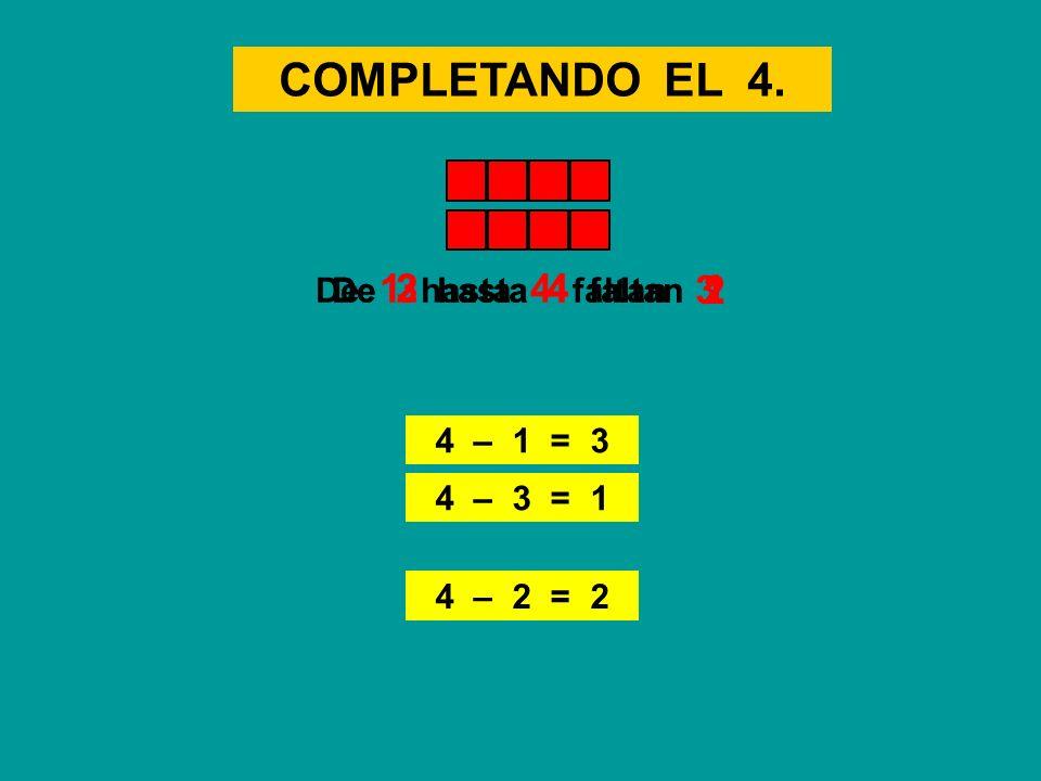 COMPLETANDO EL 4. 4 – 2 = 2 De 2 hasta 4 faltanDe 1 hasta 4 faltan 4 – 1 = 3 23 De 3 hasta 4 faltan 1 4 – 3 = 1