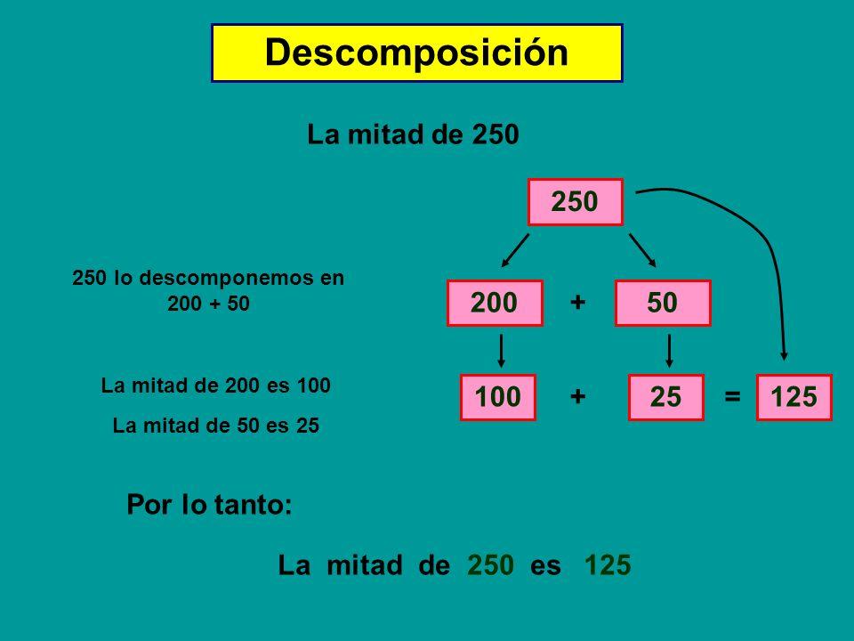 Descomposición La mitad de 250 250 250 lo descomponemos en 200 + 50 20050 + La mitad de 200 es 100 100 La mitad de 50 es 25 25 + = 125 La mitad de 250