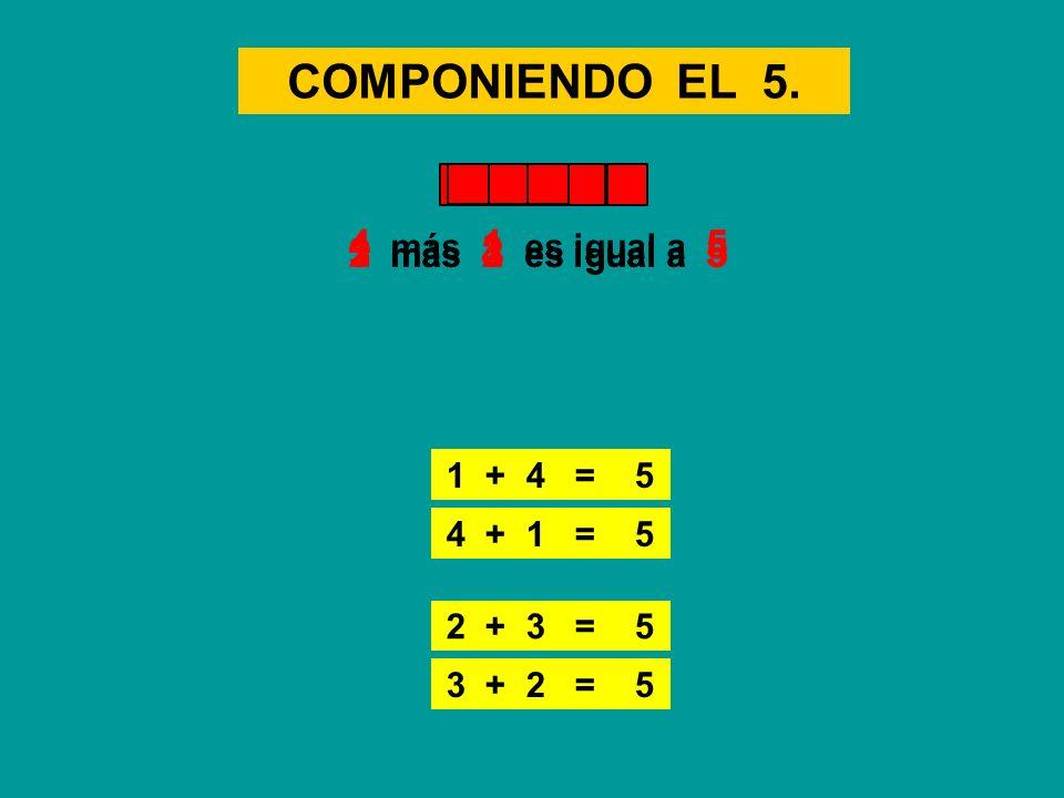 COMPONIENDO EL 5. 1 + 4 = 5 1 más 4 es igual a 53 más 2 es igual a 5 3 + 2 = 5 4 más 1 es igual a 5 4 + 1 = 5 2 más 3 es igual a 5 2 + 3 = 5
