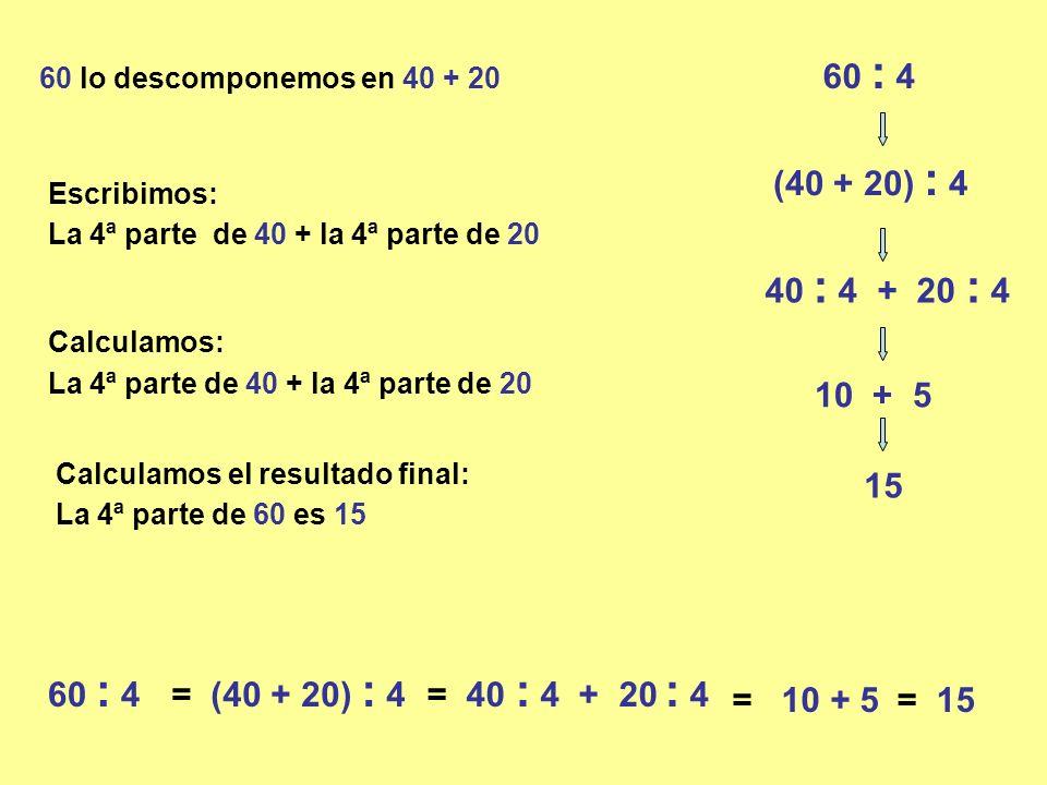 60 : 4 60 lo descomponemos en 40 + 20 (40 + 20) : 4 40 : 4 + 20 : 4 10 + 5 La 4ª parte de 60 es 15 15 60 : 4= (40 + 20) : 4= 40 : 4 + 20 : 4 = 10 + 5= 15 La 4ª parte de 40 + la 4ª parte de 20 Escribimos: La 4ª parte de 40 + la 4ª parte de 20 Calculamos: Calculamos el resultado final:
