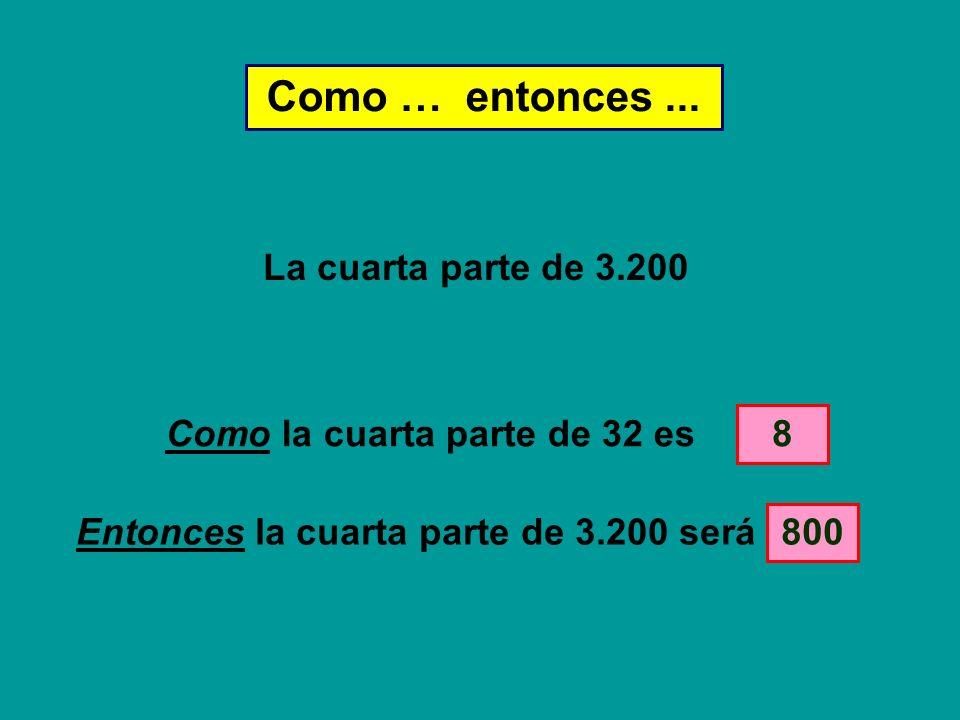 Como … entonces... Como la cuarta parte de 32 es 800 8 Entonces la cuarta parte de 3.200 será La cuarta parte de 3.200