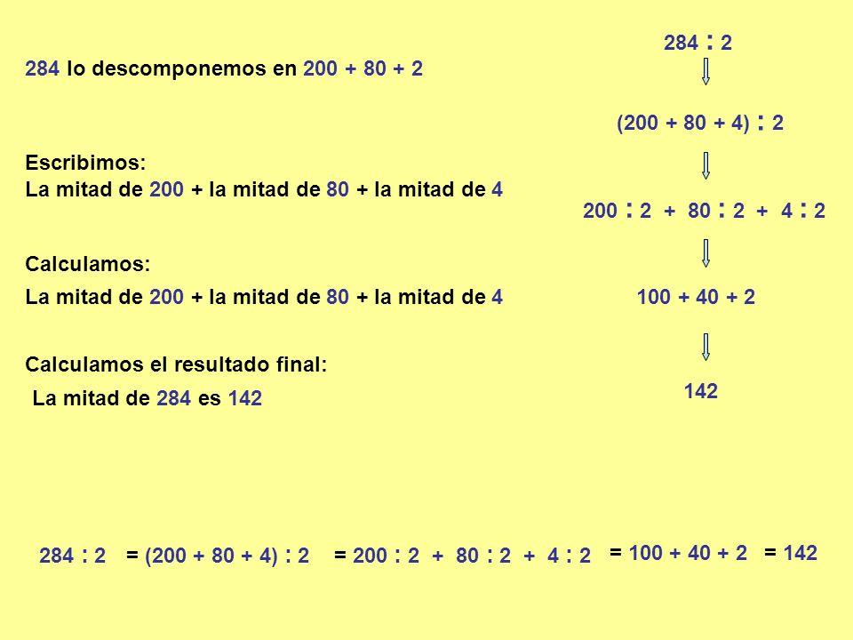 284 : 2 284 lo descomponemos en 200 + 80 + 2 (200 + 80 + 4) : 2 200 : 2 + 80 : 2 + 4 : 2 La mitad de 200 + la mitad de 80 + la mitad de 4 100 + 40 + 2