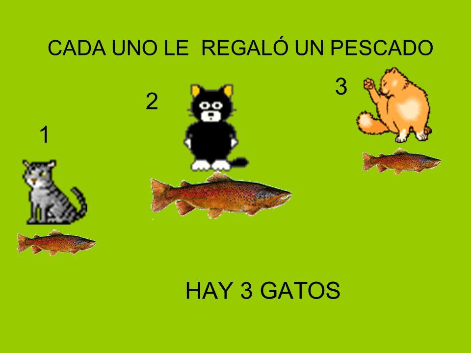 CADA UNO LE REGALÓ UN PESCADO HAY 3 GATOS 1 2 3