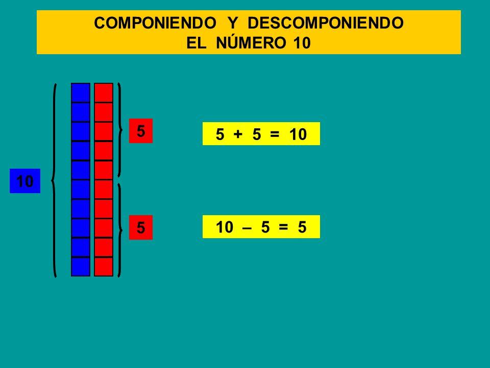 COMPONIENDO Y DESCOMPONIENDO EL NÚMERO 10 10 5 + 5 = 10 10 – 5 = 5 5 5 5 5