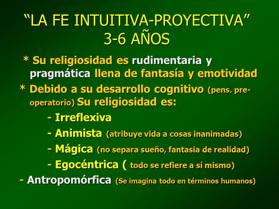 LA FE INTUITIVA-PROYECTIVA 3-6 AÑOS * Se desarrolla un gran apr.