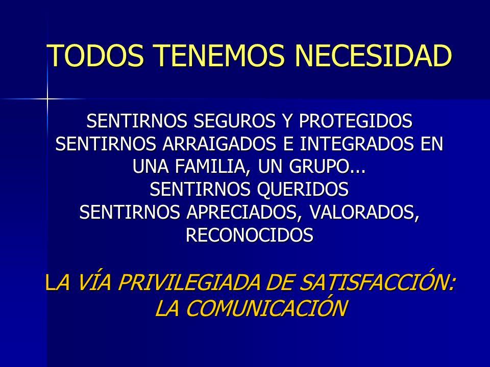 TODOS TENEMOS NECESIDAD SENTIRNOS SEGUROS Y PROTEGIDOS SENTIRNOS ARRAIGADOS E INTEGRADOS EN UNA FAMILIA, UN GRUPO... SENTIRNOS QUERIDOS SENTIRNOS APRE