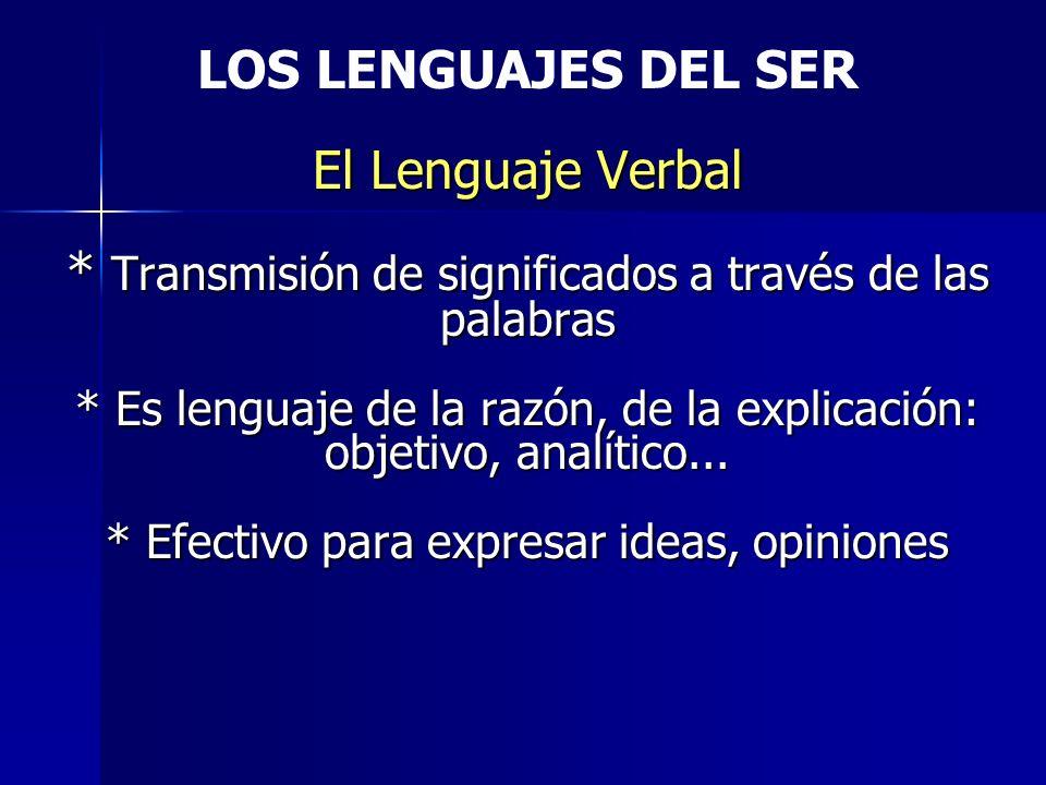 El Lenguaje Verbal * Transmisión de significados a través de las palabras * Es lenguaje de la razón, de la explicación: objetivo, analítico... * Efect