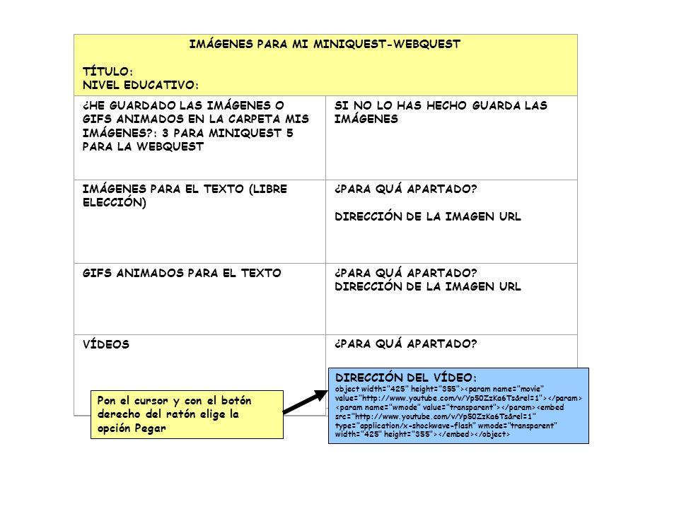 IMÁGENES PARA MI MINIQUEST-WEBQUEST TÍTULO: NIVEL EDUCATIVO: ¿HE GUARDADO LAS IMÁGENES O GIFS ANIMADOS EN LA CARPETA MIS IMÁGENES : 3 PARA MINIQUEST 5 PARA LA WEBQUEST SI NO LO HAS HECHO GUARDA LAS IMÁGENES IMÁGENES PARA EL TEXTO (LIBRE ELECCIÓN) ¿PARA QUÁ APARTADO.