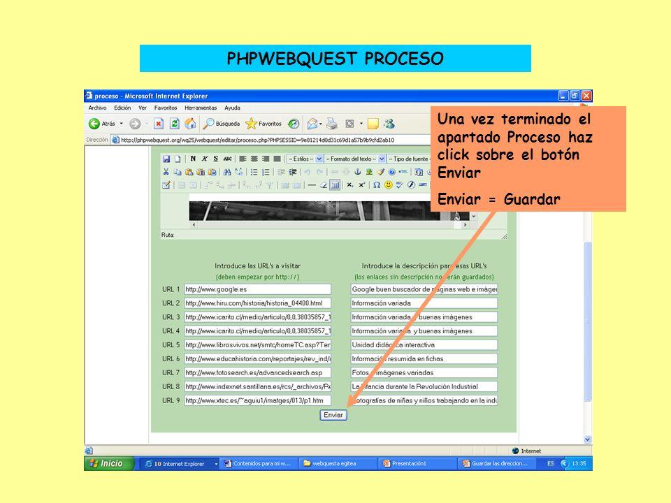 PHPWEBQUEST - PROCESO Las direcciones de Internet aparecen de esta manera