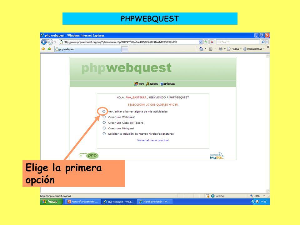 PHPWEBQUEST Elige la primera opción