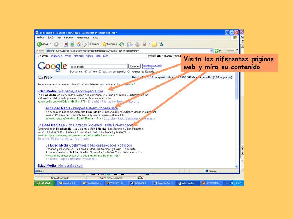 Visita las diferentes páginas web y mira su contenido