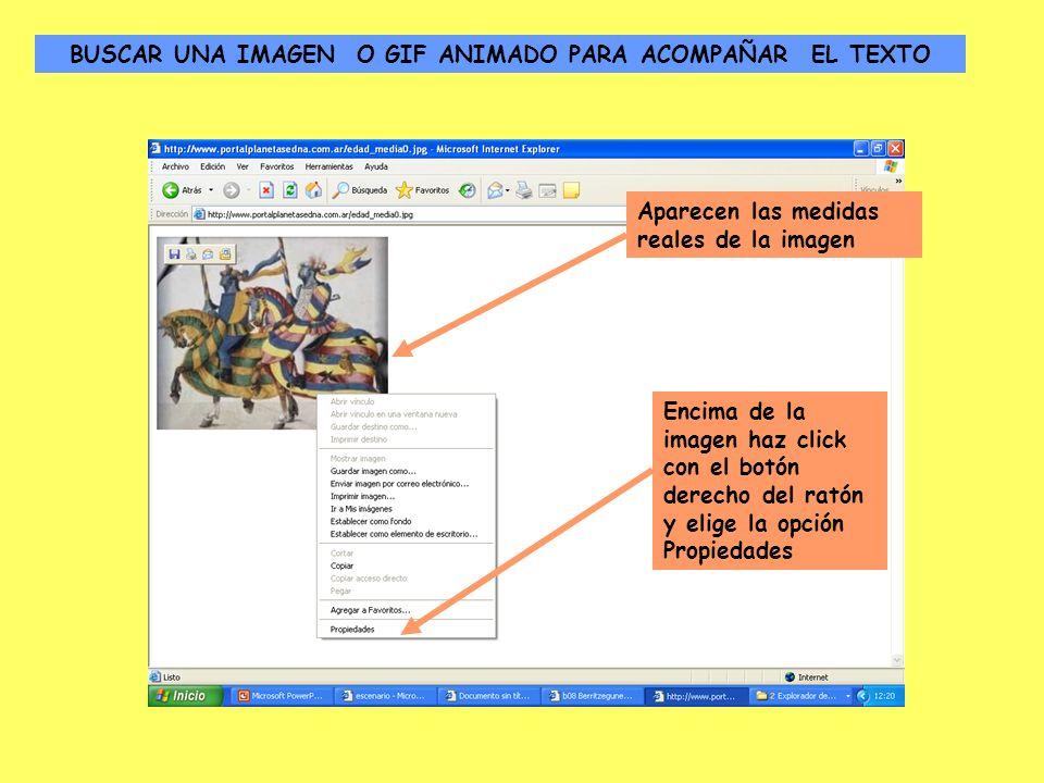Aparecen las medidas reales de la imagen Encima de la imagen haz click con el botón derecho del ratón y elige la opción Propiedades BUSCAR UNA IMAGEN O GIF ANIMADO PARA ACOMPAÑAR EL TEXTO