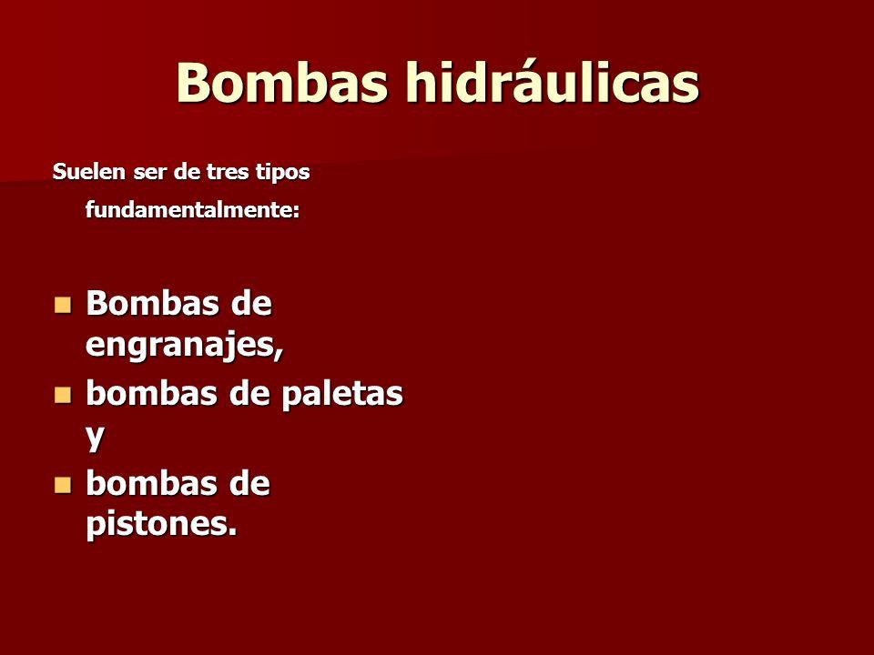 Bombas hidráulicas Suelen ser de tres tipos fundamentalmente: Bombas de engranajes, Bombas de engranajes, bombas de paletas y bombas de paletas y bomb