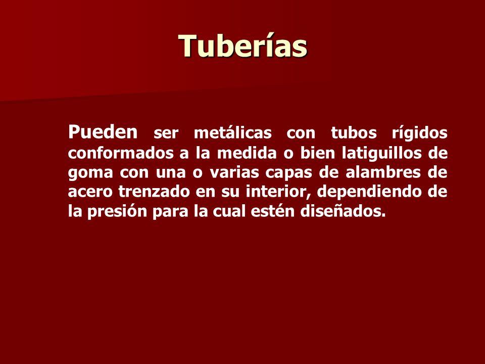 Tuberías Pueden ser metálicas con tubos rígidos conformados a la medida o bien latiguillos de goma con una o varias capas de alambres de acero trenzad