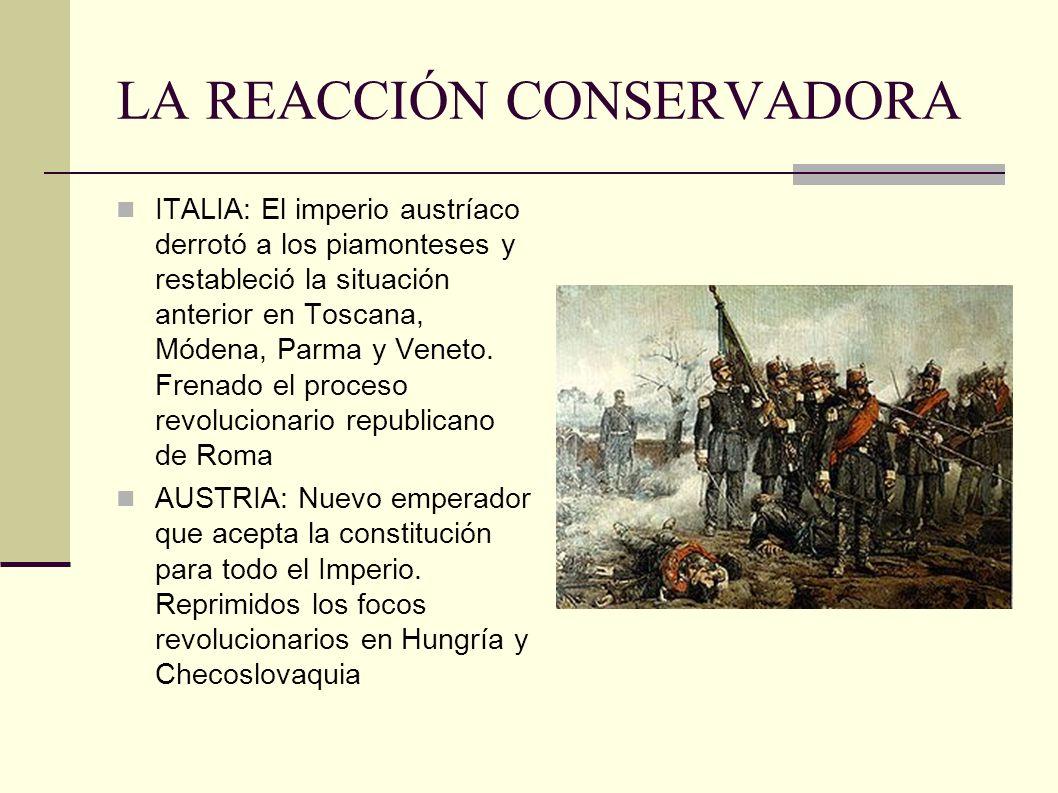 LA REACCIÓN CONSERVADORA ITALIA: El imperio austríaco derrotó a los piamonteses y restableció la situación anterior en Toscana, Módena, Parma y Veneto.