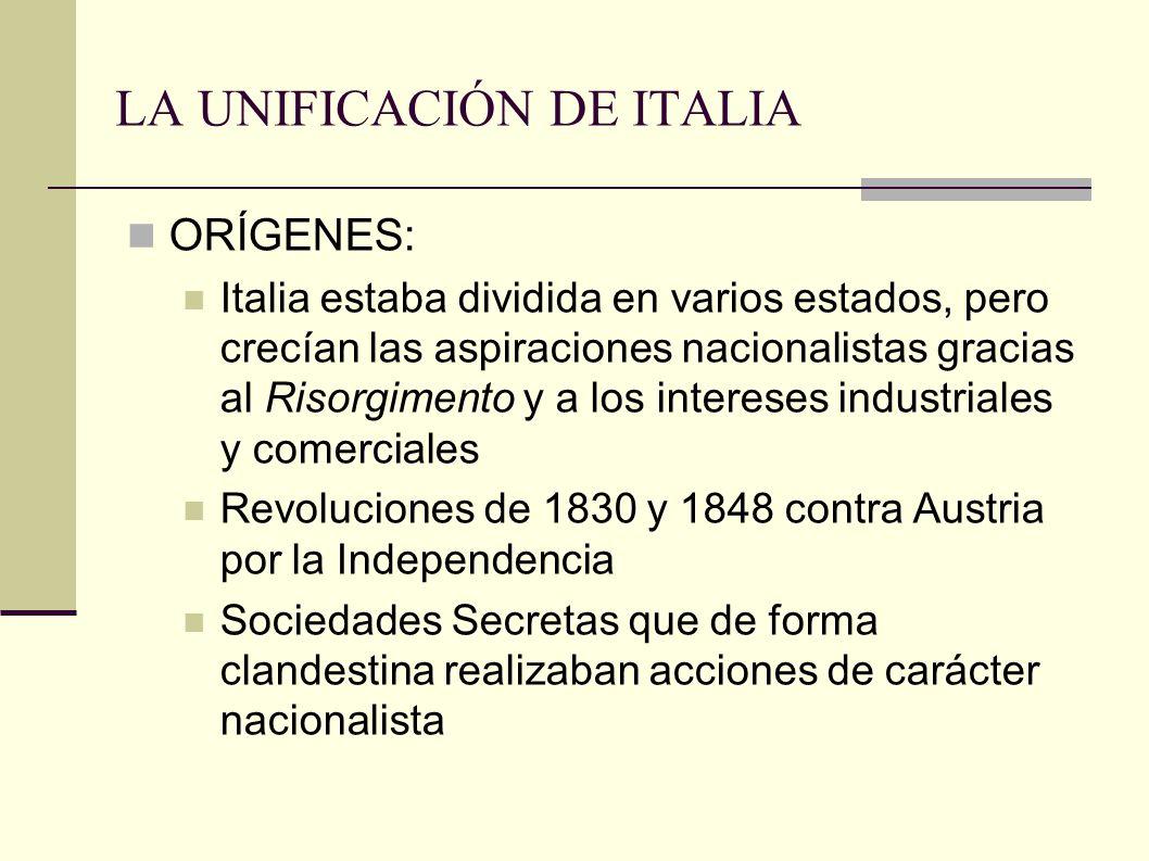 LA UNIFICACIÓN DE ITALIA ORÍGENES: Italia estaba dividida en varios estados, pero crecían las aspiraciones nacionalistas gracias al Risorgimento y a los intereses industriales y comerciales Revoluciones de 1830 y 1848 contra Austria por la Independencia Sociedades Secretas que de forma clandestina realizaban acciones de carácter nacionalista