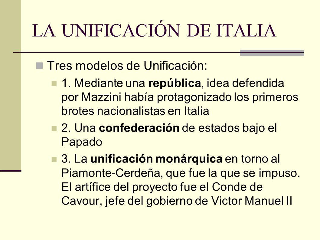 LA UNIFICACIÓN DE ITALIA Tres modelos de Unificación: 1.