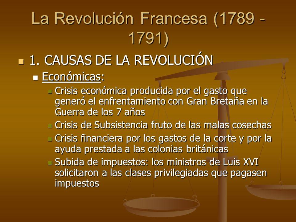La Revolución Francesa (1789 - 1791) 1. CAUSAS DE LA REVOLUCIÓN 1.