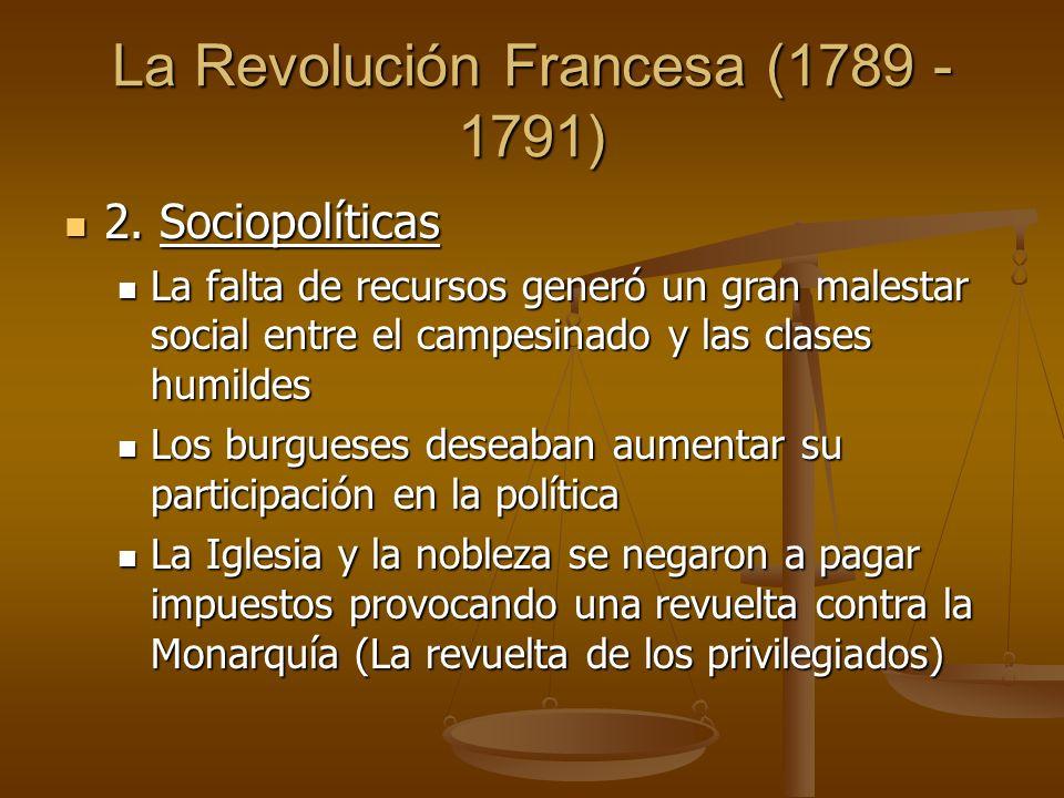 La Revolución Francesa (1789 - 1791) 2. Sociopolíticas 2.