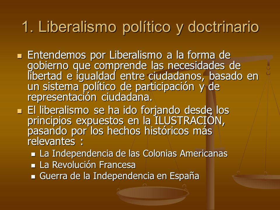 1. Liberalismo político y doctrinario Entendemos por Liberalismo a la forma de gobierno que comprende las necesidades de libertad e igualdad entre ciu