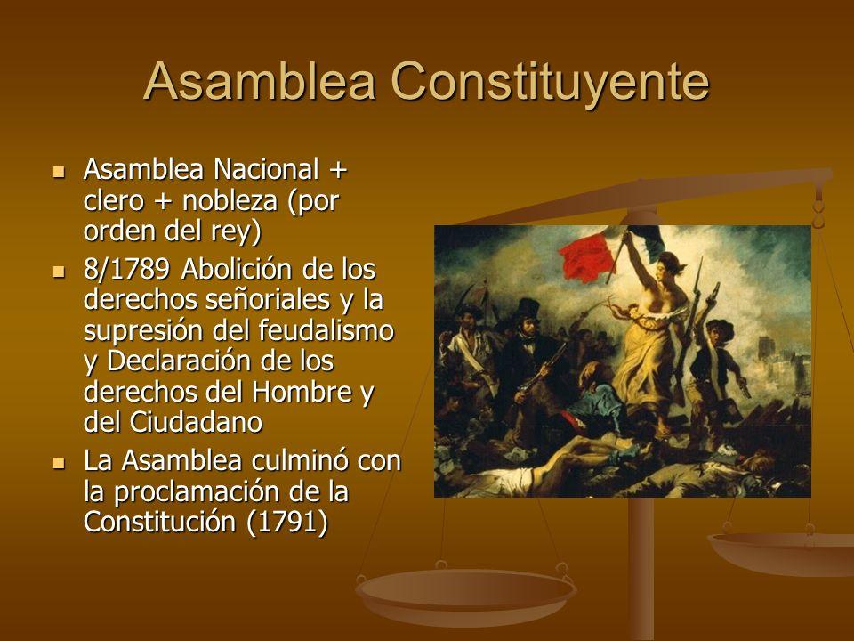 Asamblea Constituyente Asamblea Nacional + clero + nobleza (por orden del rey) Asamblea Nacional + clero + nobleza (por orden del rey) 8/1789 Abolición de los derechos señoriales y la supresión del feudalismo y Declaración de los derechos del Hombre y del Ciudadano 8/1789 Abolición de los derechos señoriales y la supresión del feudalismo y Declaración de los derechos del Hombre y del Ciudadano La Asamblea culminó con la proclamación de la Constitución (1791) La Asamblea culminó con la proclamación de la Constitución (1791)