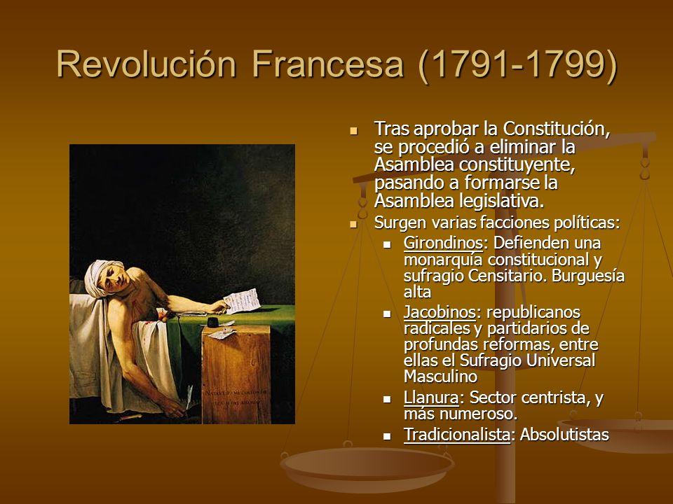 Revolución Francesa (1791-1799) Tras aprobar la Constitución, se procedió a eliminar la Asamblea constituyente, pasando a formarse la Asamblea legislativa.