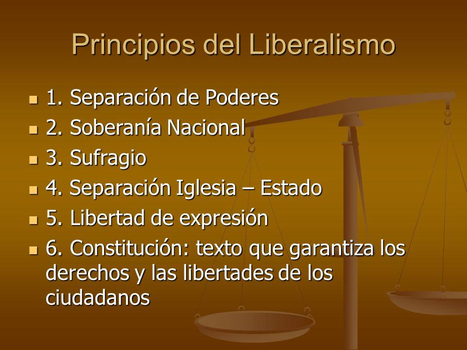 Principios del Liberalismo 1. Separación de Poderes 1.