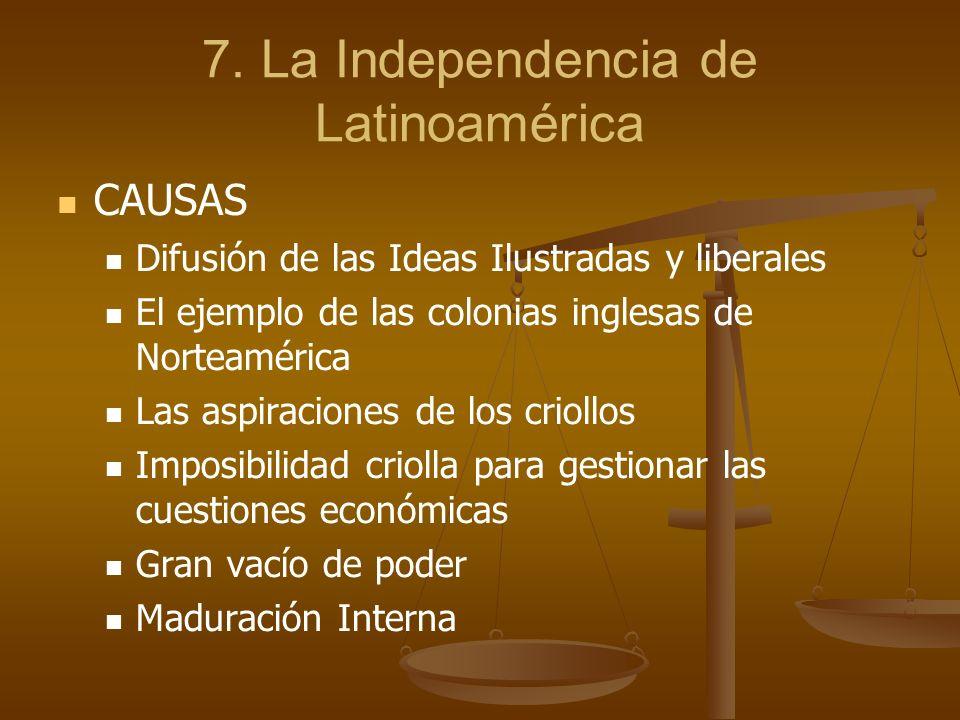 7. La Independencia de Latinoamérica CAUSAS Difusión de las Ideas Ilustradas y liberales El ejemplo de las colonias inglesas de Norteamérica Las aspir
