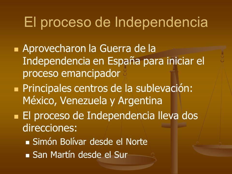 El proceso de Independencia Aprovecharon la Guerra de la Independencia en España para iniciar el proceso emancipador Principales centros de la sublevación: México, Venezuela y Argentina El proceso de Independencia lleva dos direcciones: Simón Bolívar desde el Norte San Martín desde el Sur