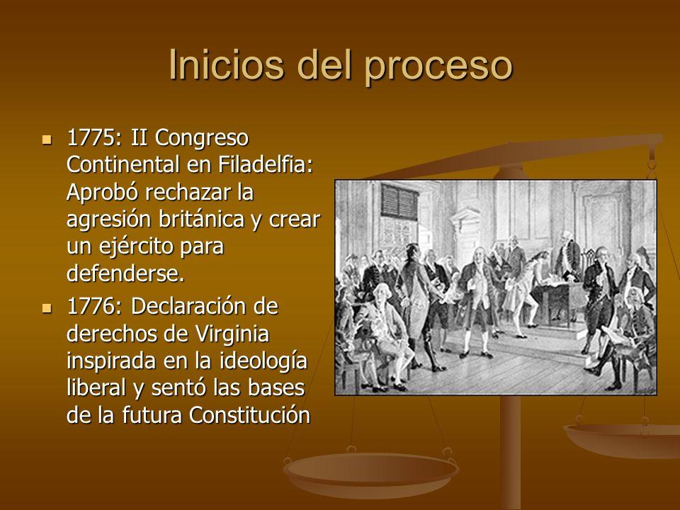 Inicios del proceso 1775: II Congreso Continental en Filadelfia: Aprobó rechazar la agresión británica y crear un ejército para defenderse.
