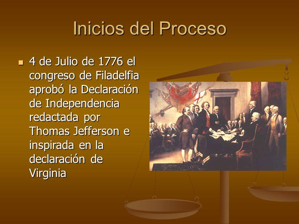 Inicios del Proceso 4 de Julio de 1776 el congreso de Filadelfia aprobó la Declaración de Independencia redactada por Thomas Jefferson e inspirada en la declaración de Virginia 4 de Julio de 1776 el congreso de Filadelfia aprobó la Declaración de Independencia redactada por Thomas Jefferson e inspirada en la declaración de Virginia