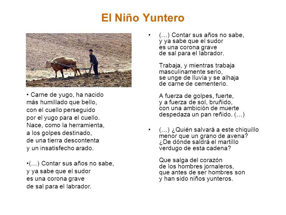 El Niño Yuntero (…) Contar sus años no sabe, y ya sabe que el sudor es una corona grave de sal para el labrador. Trabaja, y mientras trabaja masculina